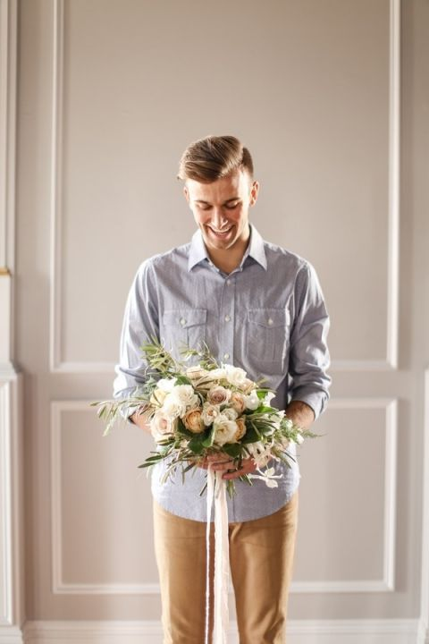 Casual Groom to Be for a Styled Engagement | SLF Weddings | http://heyweddinglady.com/intimate-love-story-engagement-blush-taupe-gold/