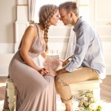Intimate Love Story Engagement in Blush, Taupe, and Gold | http://heyweddinglady.com/intimate-love-story-engagement-blush-taupe-gold/