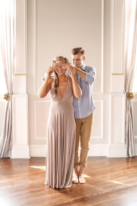 Setting a Romantic Surprise | SLF Weddings | http://heyweddinglady.com/intimate-love-story-engagement-blush-taupe-gold/
