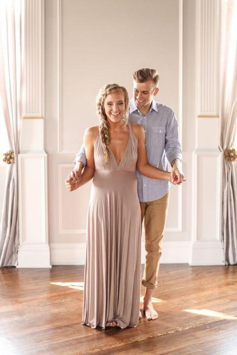 Unveiling the Surprise   SLF Weddings   https://heyweddinglady.com/intimate-love-story-engagement-blush-taupe-gold/