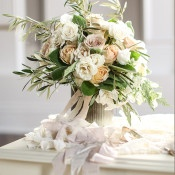 Chic Neutral Bouquet | SLF Weddings | https://heyweddinglady.com/intimate-love-story-engagement-blush-taupe-gold/