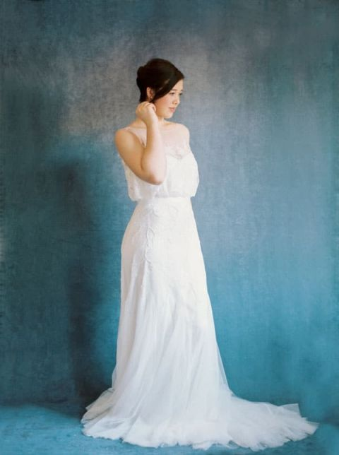 Romantic Lace Rosa Clara Bridal Wedding Dress | Rebecca Hollis Photography | https://heyweddinglady.com/lush-fine-art-wedding-florals-spring/