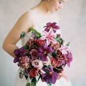 Rich Jewel Toned Purple Bouquet | Rebecca Hollis Photography | https://heyweddinglady.com/lush-fine-art-wedding-florals-spring/
