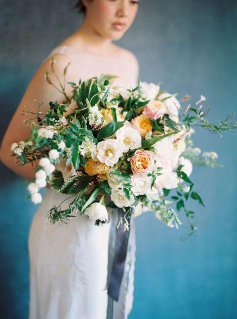 White and Orange Bouquet with Fresh Greenery | Rebecca Hollis Photography | https://heyweddinglady.com/lush-fine-art-wedding-florals-spring/