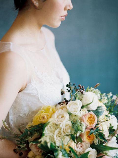 Artistic Wedding Portraits in Blue, White, and Orange | Rebecca Hollis Photography | https://heyweddinglady.com/lush-fine-art-wedding-florals-spring/