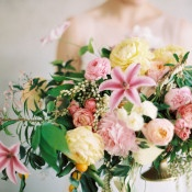 Candy Stripe Pink and Yellow Floral Arrangement | Rebecca Hollis Photography | http://heyweddinglady.com/lush-fine-art-wedding-florals-spring/