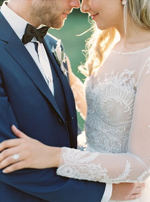 Silver Beaded Wedding Dress for a Classic Wedding | Laura Gordon Photography | https://heyweddinglady.com/spring-watercolor-wedding-inspiration-lavender-sage-green/