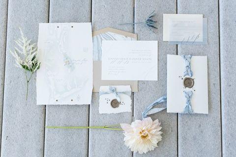 Marbled Blue and Blush Wedding Invitation | Caroline & Evan Photography | https://heyweddinglady.com/pastel-nautical-wedding-shoot-preppy-coastal-details/