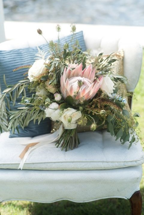 Natural and Wild Protea Bouquet | Caroline & Evan Photography | http://heyweddinglady.com/pastel-nautical-wedding-shoot-preppy-coastal-details/