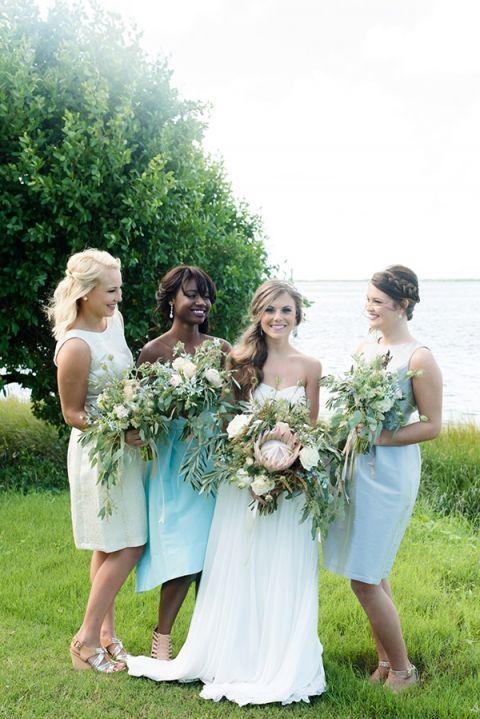 Bridesmaids in Sea Glass Inspired Colors from Dessy | Caroline & Evan Photography | http://heyweddinglady.com/pastel-nautical-wedding-shoot-preppy-coastal-details/