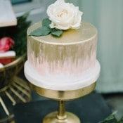 Gold Brushed Peach One Tier Wedding Cake | John Schnack Photography | https://heyweddinglady.com/succulents-sparkles-stripes-modern-socal-wedding/