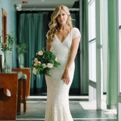 White Sequin Wedding Dress | John Schnack Photography | http://heyweddinglady.com/succulents-sparkles-stripes-modern-socal-wedding/