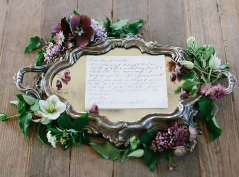 Vintage Silver and Lush Flowers