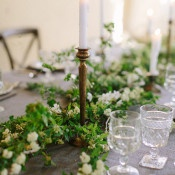 Delicate Greenery Runner with Crystal and Candles | Heather Hawkins Photography | https://heyweddinglady.com/rich-moody-spring-florals-vintage-bride/