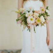 Peach Poppy Bridal Bouquet | Heather Hawkins Photography | https://heyweddinglady.com/rich-moody-spring-florals-vintage-bride/