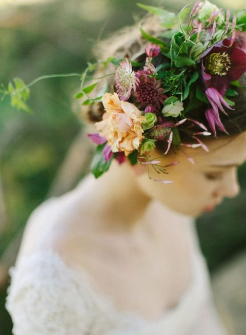 Burgundy and Peach Flower Wreath for a Romantic Spring Bride