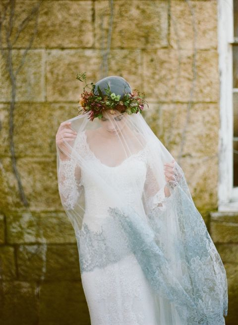 Dramatic Lace Trimmed Veil with a Flower Crown