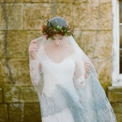 Dramatic Lace Trimmed Veil with a Flower Crown | Heather Hawkins Photography | http://heyweddinglady.com/rich-moody-spring-florals-vintage-bride/