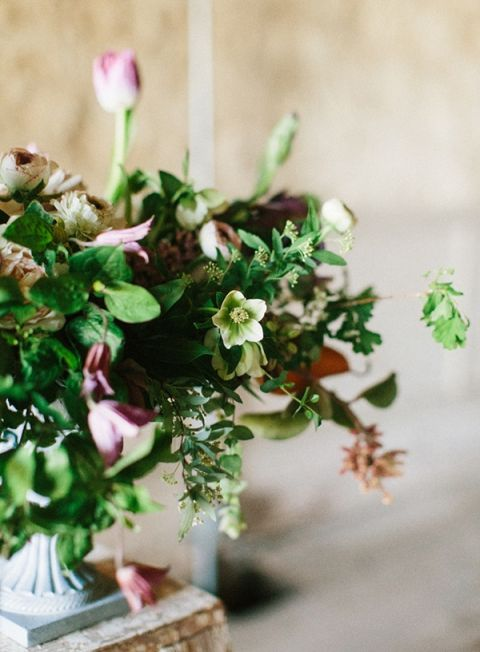 Lush Greenery and Hellebore Centerpiece
