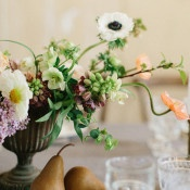 Vintage Inspired Compote Centerpiece | Heather Hawkins Photography | https://heyweddinglady.com/rich-moody-spring-florals-vintage-bride/