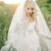 Stunning Sequin and Lace Wedding Dress with an Ethereal Veil | Tonie Christine Photography | http://heyweddinglady.com/colorful-modern-elopement-magic-hour/