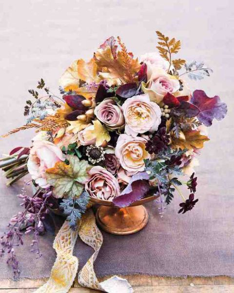 Loose And Organic Bouquet In Shades Of Purple Gold