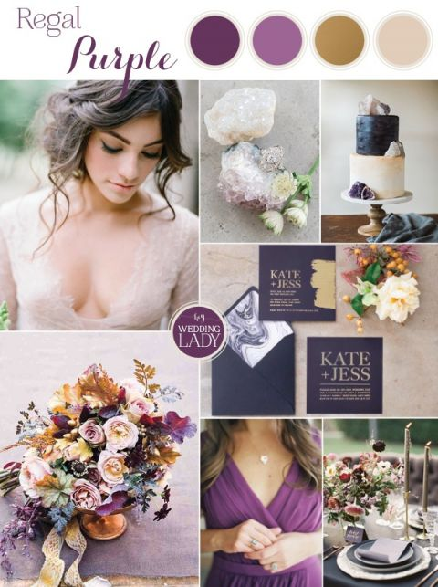 Regal Purple, Gold, and Champagne Wedding Palette - Hey Wedding Lady