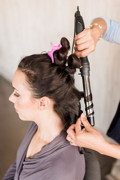 Curl Sections of Hair with a 1.5 Inch Barrel Curling Iron