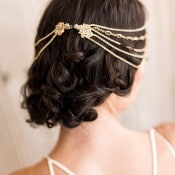Jeweled Clips and Loose Curls for a Relaxed Bridal Chignon