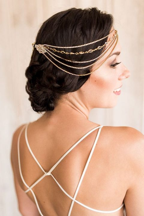 Cascading Crystals for a Hand Crafted Bridal Headpiece