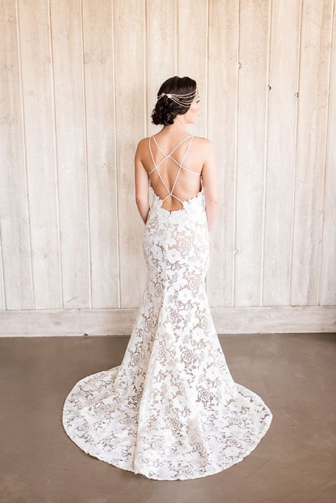 Styling a low back wedding dress with a boho glam headpiece hey nude lace sheath dress with a low back junglespirit Image collections