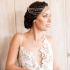 Styling a Low Back Wedding Dress with a Boho Glam Headpiece