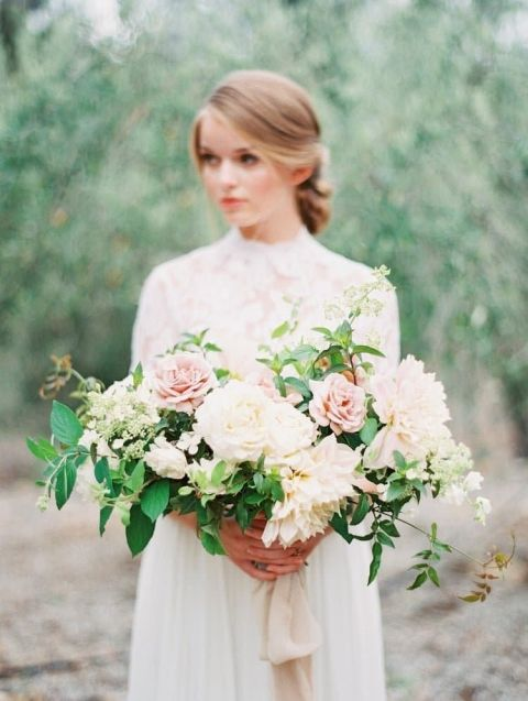 White Wedding Dress With Pink Flowers 78 Cute Romantic Garden Bouquet for