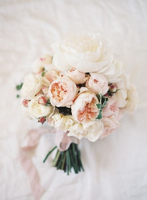 Delicate Blush and Ivory Garden Rose Bouquet