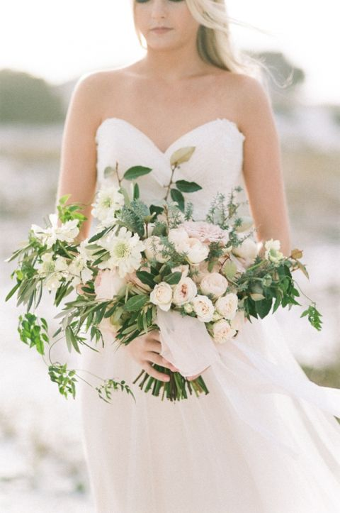 Organic Ivory and Greenery Bouquet with Trailing Vines