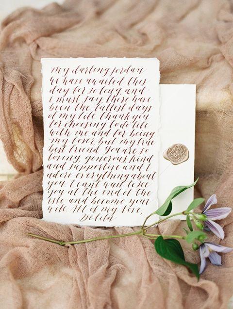 Romantic Love Letter in Elegant Calligraphy