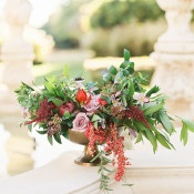 Garden Centerpiece with Summer Greenery and Berries