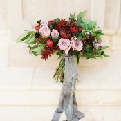 Burgundy and Mauve Bouquet with Silk Ribbons