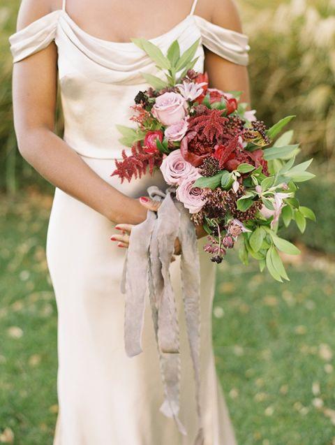 Summer Garden Bouquet With Crimson Peonieauve Roses