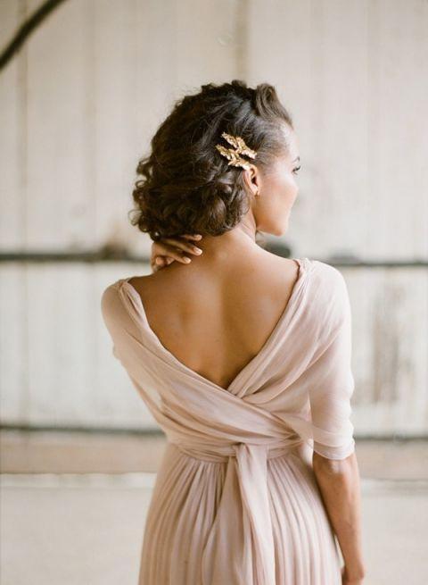 Delicate Cafe au Lait Chiffon Wedding Dress