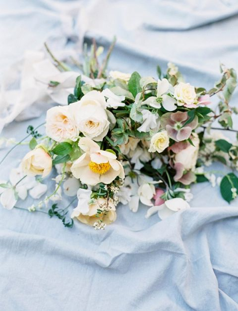 Botanical Garden Bouquet in Ivory and Pale Blue