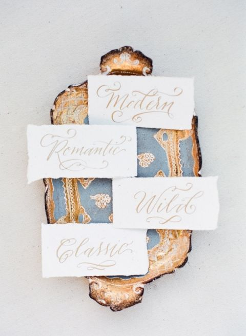 Vintage Blue and Gold Tray with Calligraphy Signs