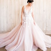 Stunning Modern Ball Gown in Blush with Floral Embroidery