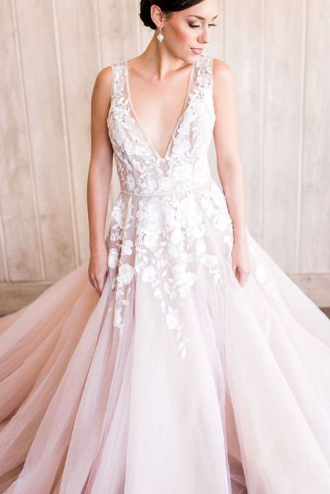 Blush Low Back Wedding Dress : Styling a modern bridal tiara with blush wedding dress