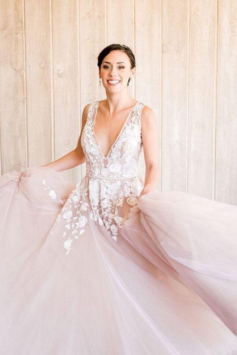 Blush Wedding Dresses 60 Perfect Pairing a Bridal Tiara