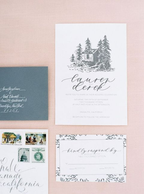 Elegant Hand Drawn Calligraphy Wedding Invitation Suite