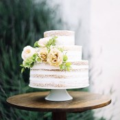 Chic Naked Cake with Neutral Flower Topper