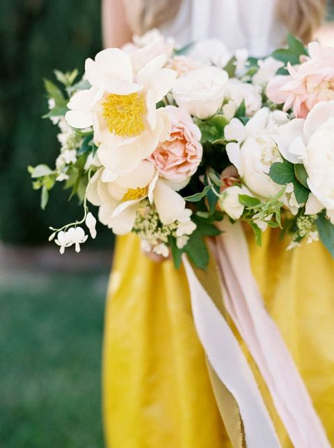Lush Peach and Ivory Garden Bouquet with a Modern Yellow Wedding Dress