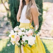 Chic Wedding Day Separates with a Lemon Yellow Skirt