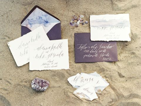 Purple Watercolor Wedding Invitations with White Calligraphy